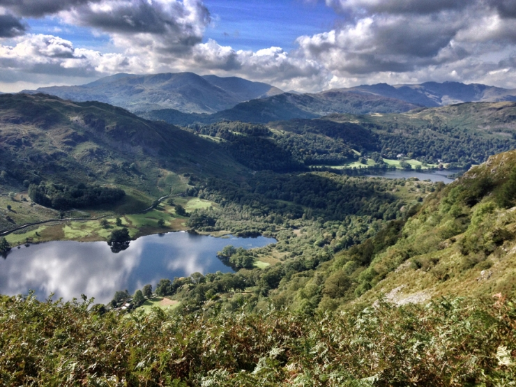 Looking down towards Grasmere (right) and Rydal (left) from Nab Scar. They glitter like crystals. The view (and the steep ascent) is breathtaking.