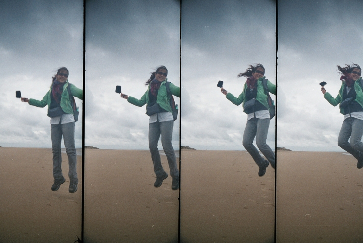 """Move the object – """"Jump!"""" Shutter speed: 0.2 sec across four frames. See how it freezes the moment. Love it!"""